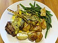 Lamb popsicles with roast potatoes and green beans (9905615124).jpg