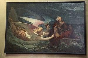 """Yan' Dargent - """"Saint Houardon voguant dans une auge de pierre"""". Yan' Dargent's painting in the Eglise Saint-Houardon at Landernau"""