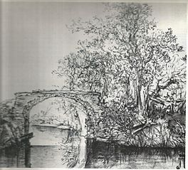 Landscape with a Stone Bridge in charcoal