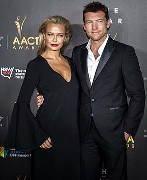Lara Bingle - Lara Bingle and Sam Worthington on 2014 AACTA Awards red carpet