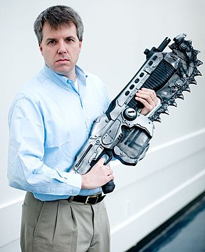 Larry Hryb - Larry Hryb with the Lancer rifle from Gears of War, 2008.