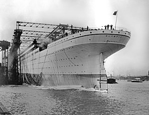 RMS Olympic - The launch of Olympic on 20 October 1910
