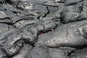 Pāhoehoe Lava is entering Pacific at The Big I...