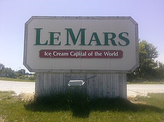 "Le Mars, Iowa - Entrance sign to Le Mars ""Ice Cream Capital of the World"""