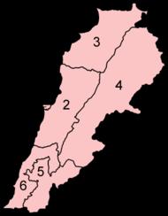 Divisões administrativas do Líbano.