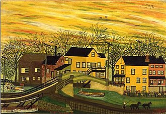 New Hope, Pennsylvania - Lehigh Canal, Sunset, New Hope, PA., by New Hope artist Joseph Pickett (circa 1918)