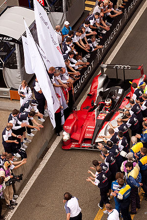 2010 24 Hours of Le Mans - The race-winning No. 9 Audi R15 TDI plus of Timo Bernhard, Romain Dumas and Mike Rockenfeller, which set a race record for overall distance covered.