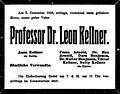 Leon Kellner death notice, Vienna, 1928.jpg