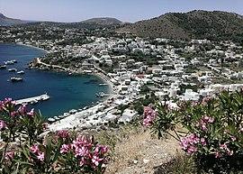 Veduta del villaggio di Panteli a Leros