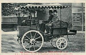 Gaston de Chasseloup-Laubat - Georges Bouton and the count de Chasseloup-Laubat on a steam automobile Trépardoux & Cie. Dog Cart de route (1885), possibly the winning vehicle of the Marseille-La Turbie contest of 1897.