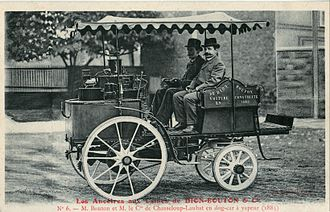 Gaston de Chasseloup-Laubat - Georges Bouton and the count de Chasseloup-Laubat on a steam automobile Trépardoux & Cie. Dog Cart de route (1885), possibly the winning vehicle of the Marseille-La Turbie contest of 1897.