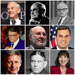 Collage of nine American conservatives: Ron Paul, Milton Friedman, Barry Goldwater, John Hospers, Walter Block, Justin Amash, Gary Johnson, H. L. Mencken, Jo Jorgenson