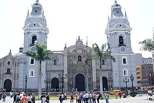 Peruvian colonial architecture - Cathedral of Lima with Renaissance central doorway and towers.