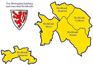 Duchy of Limburg - Basic administrative parts until the French revolution, including detached Sprimont.