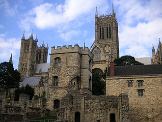 Hugh of Wells - Lincoln Cathedral, with the ruined Bishop's Palace in the foreground