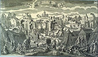 The Ruins of Lisbon. Survivors lived in tents on the outskirts of the city after the earthquake, as shown in this fanciful 1755 German engraving.