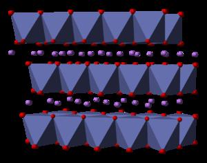 Lithium cobalt oxide - Image: Lithium cobalt oxide 3D polyhedra