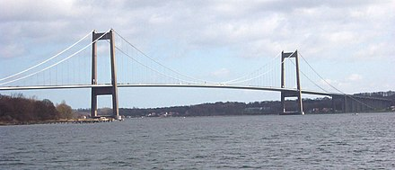 The Little Belt suspension bridge in Denmark was opened in 1970. Little Belt Bridge2.jpg