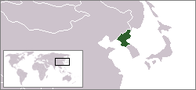 A map showing the location of North Korea