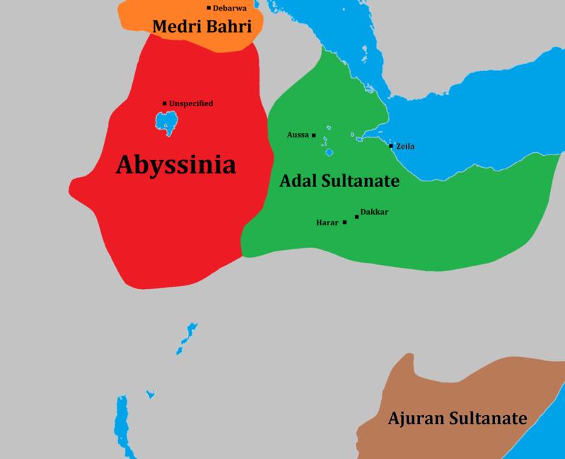 Extensión aproximada del Sultanato de Adal.