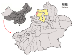 Location of Yumin County (red) within Tacheng Prefecture (yellow) and Xinjiang
