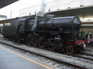 Franco-Crosti boiler - The FS steam locomotive 741.120 in Florence Central Station