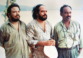 A. K. Lohithadas - Lohithadas along with director Bharathan and cinematographer Ramachandra Babu at the location of Venkalam.