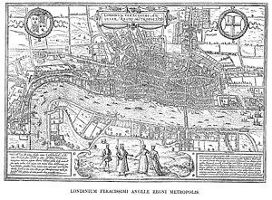 Tudor London - Hoefnagel's map of London, 1572, from Civitates Orbis Terrarum