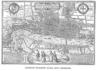 Tudor London - Hoefnagel's map of London, 1572, from Civitates Orbis Terrarum