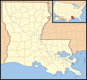 Battle of Lake Pontchartrain - Map showing modern Louisiana.  Lake Pontchartrain is the large lake in its easternmost area, and is just north of New Orleans