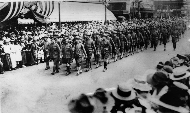 Louisiana Troops on Canal Street 1917 Heading for the Great War