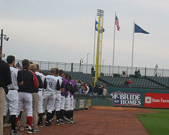 Louisville Bats - The team stands for the National Anthem