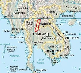 Location of the Luang Prabang Range in Southeast Asia