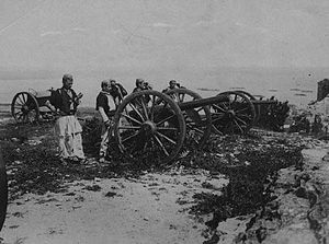 Vlora War - Italian cannons captured by Albanian irregulars during one of the battles