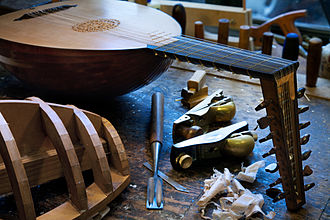 Lute - A lute being made in a workshop.