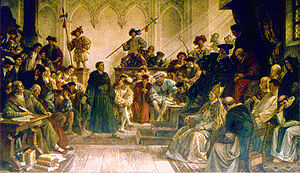 "Imperial Diet (Holy Roman Empire) - ""Here I stand"": Martin Luther at the Diet of Worms, 1521 19th-century painting by Hermann Wislicenus"
