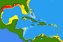 Map of species distribution concentrated in northern Gulf of Mexico