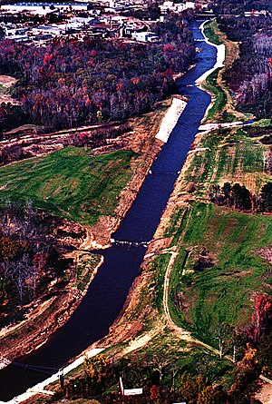 Luxapallila Creek - Aerial view of the Luxapalila Creek running through the center of Columbus, Mississippi, USA.
