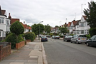 Lilias Armstrong - Street in Church End, Finchley where Armstrong and Boyanus lived