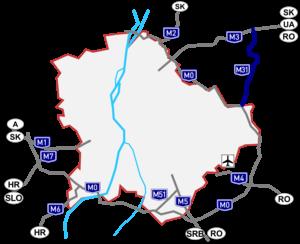 M31 motorway (Hungary) - Image: M31 autópálya térkép