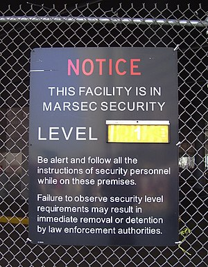 MARSEC - A MARSEC Level 1 sign on the Whitehall Ferry Terminal of the Staten Island Ferry in Manhattan, New York City