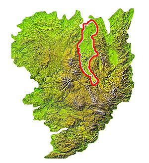Limagne - Location of the Limagne plain on a map of the Massif Central