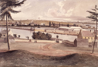 Point Frederick (Kingston, Ontario) - Fort Henry, Point Frederick and Tete du Pont Barracks, Kingston, from the old redoubt (1841)