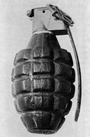 Fragmentation (weaponry) - Grooved body of a Second World War-era U.S. Mk 2 grenade. The grooves covering the exterior of the grenade are used to aid in the gripping of the grenade when throwing. A common misconception is that the grenade fragments along these grooves, which it does not.