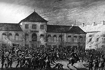 Capture of the Warsaw Arsenal by the Polish Army during the November Uprising against Tsarist autocracy, 29 November 1830 MWP 1830 Arsenal.jpg