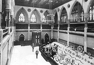 State funerals in Canada - The remains of John A. Macdonald lying in state in the Senate Chamber, 1891