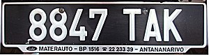Vehicle registration plates of Madagascar - Current license plate of Madagascar, with T for a code for Antananarivo province