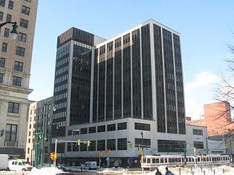 Transportation in Buffalo, New York - A Buffalo Metro Rail train passes through Lafayette Square.