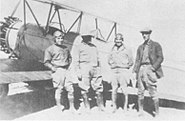 Maj. Rayma L. Andrews (R), Mexican Colonel & Pilots Naco Sonora 1929-04-04