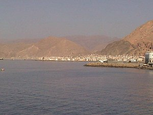 Mukalla as seen from the Indian Ocean